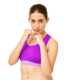 Confident Young Woman In Boxing Stance Stock Images