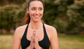 Confident young woman doing yoga Royalty Free Stock Photography