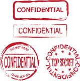 Confidential. Different kinds of stamps that say confidential Royalty Free Stock Photo