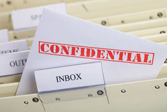 Confidential. Symbol for email privacy - Letter in a register inbox Stock Images