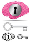 Confidential brain with lock and key. Confidential pink brain with lock and key Stock Photography