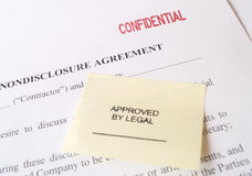 Confidential Non-Disclosure Agreement. A confidential nondisclosure agreement with an Approved By Legal stamp Stock Photography