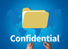 Confidential. Businessman work on white broad, top view Royalty Free Stock Image