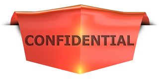 Banner confidential. Confidential 3D rendered red banner , isolated on white background Royalty Free Stock Image
