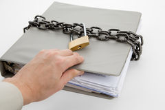 Confidential Document. Lock and file folder, concept of Confidential Document Stock Photography