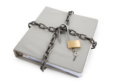Confidential Document. Lock and file folder, concept of Confidential Document Stock Photos