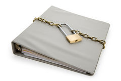 Confidential Document. Lock and file folder, concept of Confidential Document Stock Image