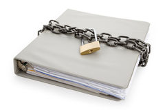 Confidential Document. Lock and file folder, concept of Confidential Document Stock Images