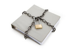 Confidential Document. Lock and file folder, concept of Confidential Document Stock Photo