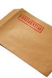 Confidential envelope B. Manila envelope with confidential stamped on it Royalty Free Stock Images