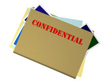 Confidential File. Bulging Folder Marked Confidential on White Background royalty free illustration