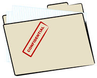 Confidential file. Brown manila file folder stamped with confidential - vector Royalty Free Stock Photo