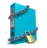 Confidential files. Locked file holder (3D illustration over white background Stock Photo