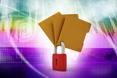 Confidential files. Padlock on folder Stock Photo