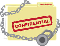 Confidential Folder. With files locked up Stock Photos