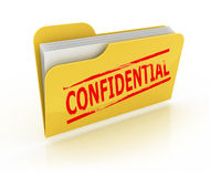Confidential folder icon over the white. Background Stock Images
