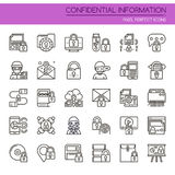Confidential Information. Thin Line and Pixel Perfect Icons Stock Images