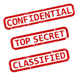 Confidential Ink Stamps EPS. Three vector illustrations of confidential, top secret and classified rubber ink stamps Stock Photography