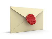 Confidential letters with wax stamp (clipping path included) Stock Photo