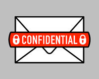 Confidential mail icon with padlock icon on letter Stock Photography