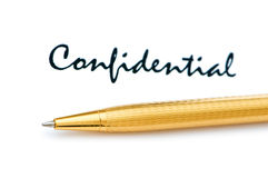 Confidential message and pen. On white Royalty Free Stock Photo