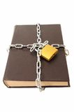 Confidential old book locked padlock stock photography