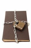 Confidential old book locked padlock Stock Photos