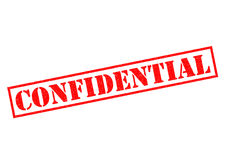 CONFIDENTIAL. Red Rubber Stamp over a white background Stock Image