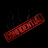 Confidential red and smoke text. Confidential inscription on black background witch smoke Royalty Free Stock Photos
