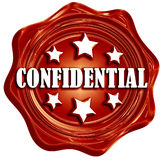 Confidential. Red wax seal with confidential written on it Royalty Free Stock Images