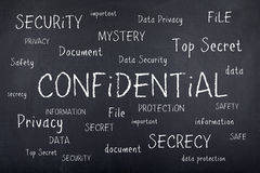 Confidential Secret Security Word Cloud Concept. Confidential top secret word cloud stock photography