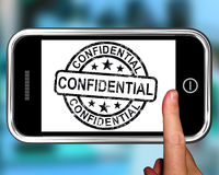 Confidential On Smartphone Shows Classified Information Royalty Free Stock Photography