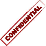 Confidential stamp. Illustration of used red confidential stamp isolated on white background Stock Image
