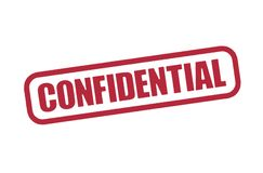 Confidential stamp graphic. Confidential stamp illustration in red, printed word encircled.  Isolated against a white background Stock Photography