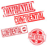 Confidential Stamps. Different shape vector rubber stamp illustrations Royalty Free Stock Photos