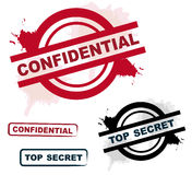 Confidential & top secret stamps. In red and black against white background Stock Photos