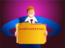 Confidentiality. Happy businessman holding a confidential file Stock Image
