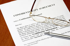Confidentiality agreement Stock Image