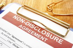Confidentiality and non-disclosure agreement form stock photography