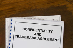 Confidentiality trademark agreement Stock Photo