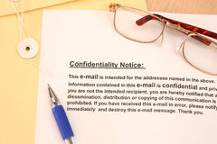 Confidentiallity Notice Stock Photo