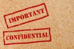 Confidentiel et important image libre de droits