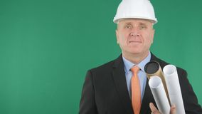 Confiding Engineer Image Smiling Pleased With Green Background stock image
