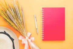 Configuração criativa do plano do livro do diário da cor vermelha, pena, flores secadas foto de stock