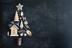 Configuração do plano da árvore de Natal Imagens de Stock