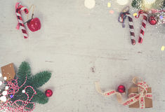 A configuração do plano do Natal denominou a cena Imagens de Stock Royalty Free