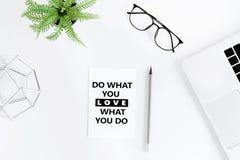 A configuração lisa com faz o que você ama e ama o que você faz citações inspiradores Fotos de Stock Royalty Free