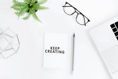 Configuração lisa com Keep que cria citações inspiradores Fotografia de Stock