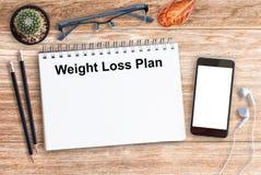 Configuração lisa, comer saudável do plano da perda de peso Imagem de Stock
