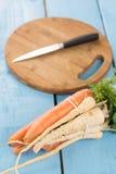 Configuração lisa da pastinaga fresca com as cenouras para a sopa Foto de Stock